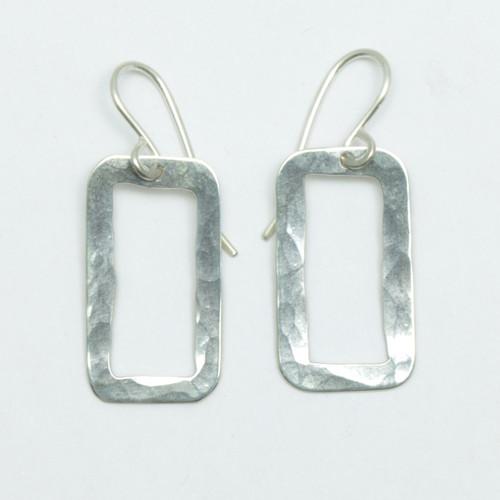 Sterling silver rectangle pirori earrings, made in NZ, Justin Ferguson