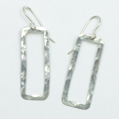 Rectangle pirori earrings, sterling silver, Justin Ferguson, made in NZ,