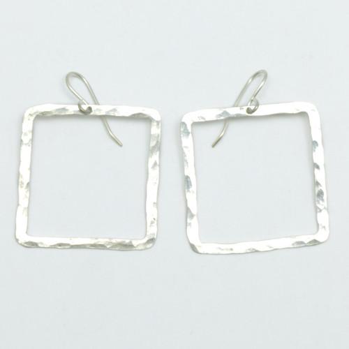 Square Pirori earrings, large, sterling silver, Justin Ferguson,