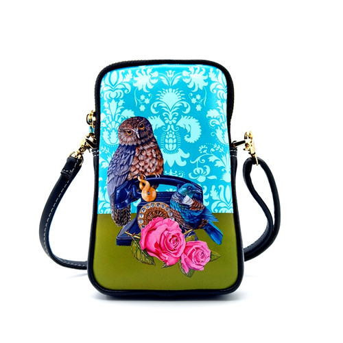 leather cell phone bag, nz artists, Angie Dennis, ruru,