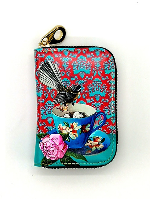 leather card wallet, NZ artists, Angie Dennis, fantail,