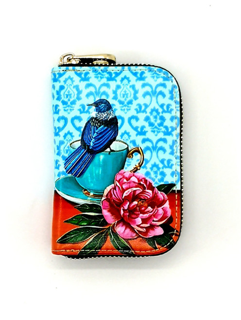 leather card wallet, nz artists, Angie Dennis, tui,