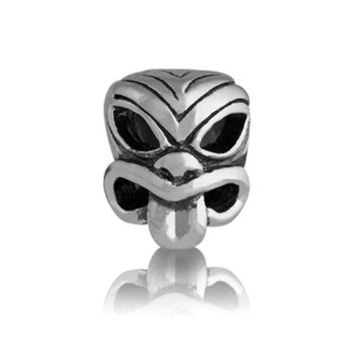 Sterling silver pacific mask charm from Evolve New Zealand.