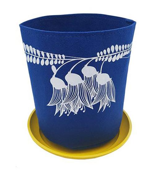 Eco felt growbag from Jo Luping Design,  kowhai design, blue,