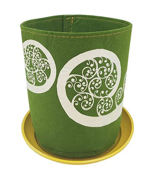 Eco felt growbag from Jo Luping Design,  fern frond design, green,