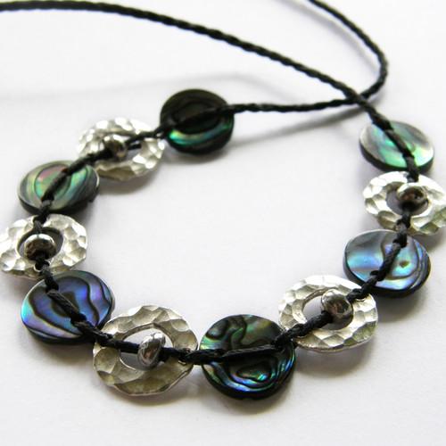 Silver and paua 11 piece Amionga necklace, Justin Ferguson.