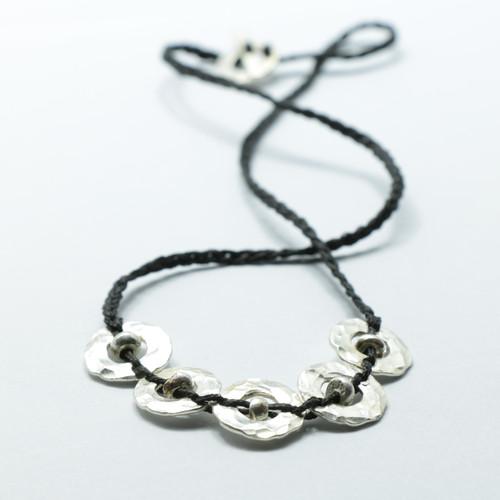 Silver 5 piece Amionga necklace, Justin Ferguson.