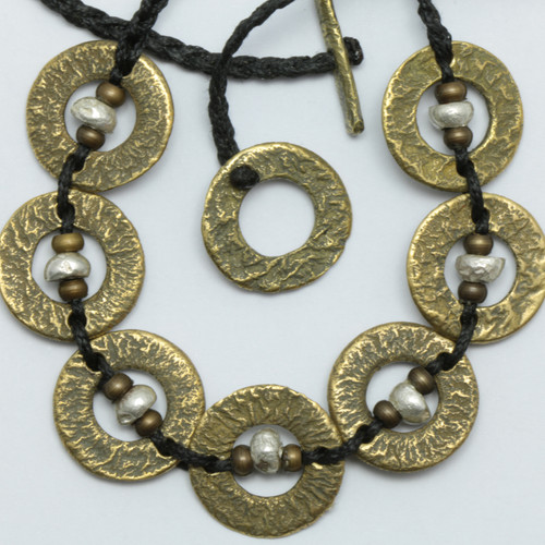 Brass and silver Amionga necklace, Justin Ferguson.