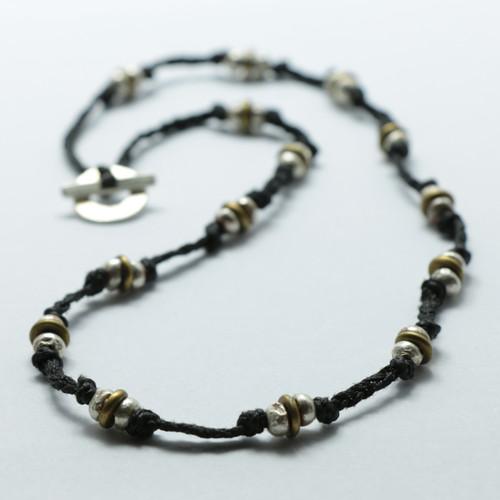 Braided brass and silver Pirepire necklace, Justin Ferguson.