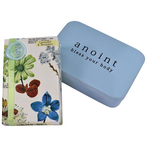 Lavender and Bergamont moisturising lotion bar and tin set, Anoint Skincare,