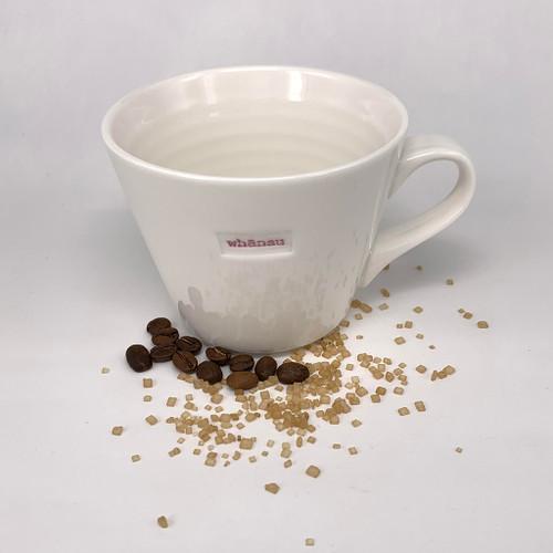 cream ceramic mug, 350ml capacity, whanau stamp,
