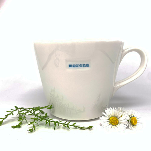 cream ceramic mug, 350ml capacity, morena stamp,