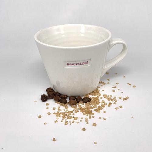 cream ceramic mug, 350ml capacity, beautiful stamp,