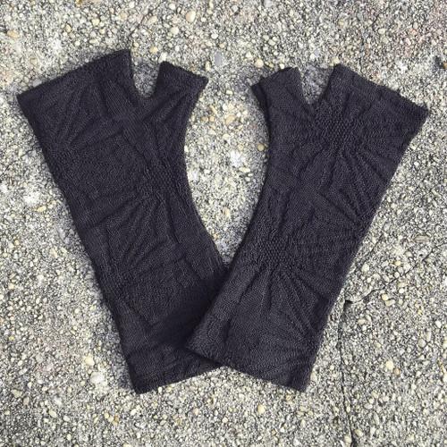NZ merino textured knit fingerless gloves, Kate Watts,
