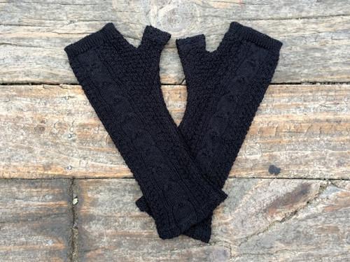 black cable knit merino fingerless gloves, Kate Watts,