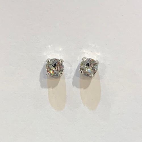Swarovski crystal stud earrings, sterling silver plate posts, crystal,