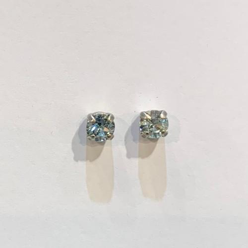 Swarovski crystal stud earrings, sterling silver plate posts, light azore,