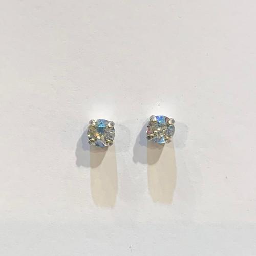 Swarovski crystal stud earrings, sterling silver plate posts, moonlight,