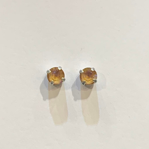 Swarovski crystal stud earrings, sterling silver plate posts, cappuccino delite,