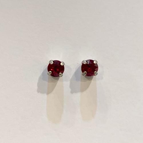 Swarovski crystal stud earrings, sterling silver plate posts, siam,