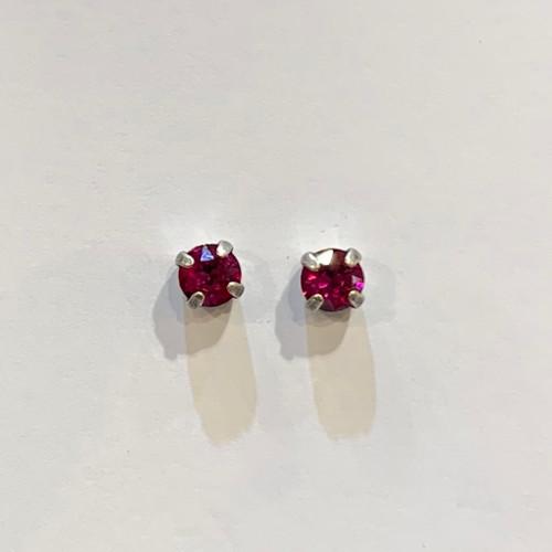 Swarovski crystal stud earrings, sterling silver plate posts, fuchsia,