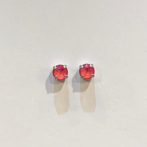 Swarovski crystal stud earrings, sterling silver plate posts, lotus pink delite,