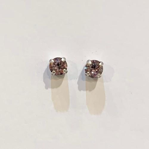 Swarovski crystal stud earrings, sterling silver plate posts, light amethyst,