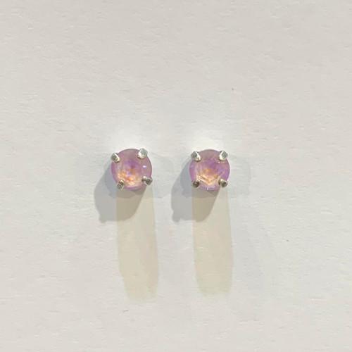 Swarovski crystal studs, sterling silver plated posts, lavender delite,