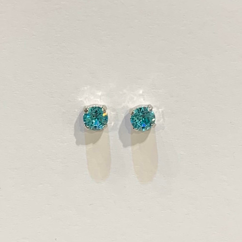 Swarovski crystal studs, sterling silver plated posts, light turquoise,