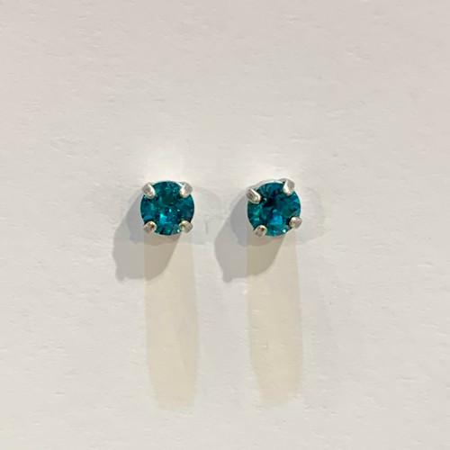 Swarovski crystal studs, sterling silver plated posts, blue zircon,