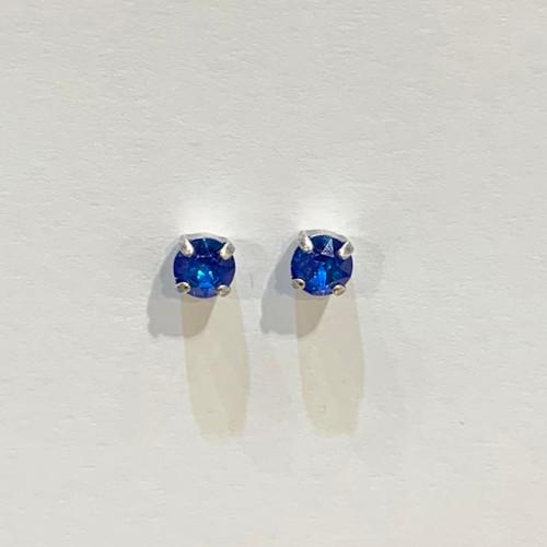 Swarovski crystal studs, sterling silver plated posts, royal blue delite,