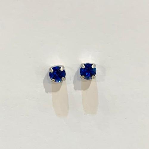 Swarovski crystal studs, sterling silver plated posts, capri blue,