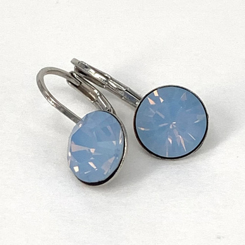 Air blue coloured silver swarovski crystal loops, Isa Dambeck.
