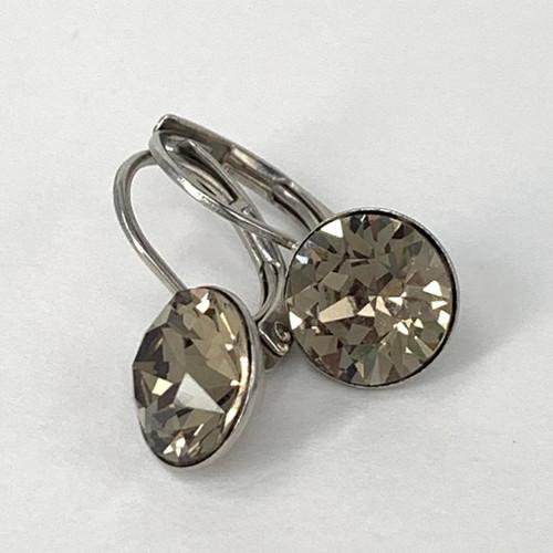 Greige coloured silver swarovski crystal loops, Isa Dambeck.