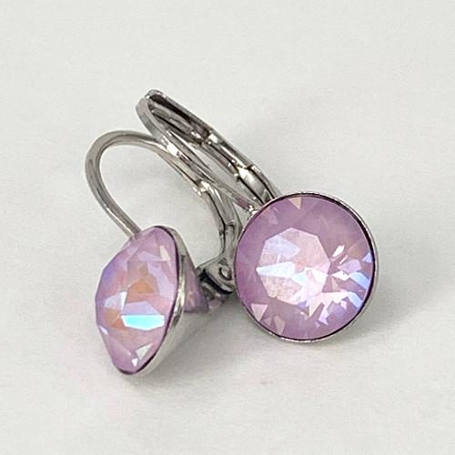 Lavender delite coloured silver swarovski crystal loops, Isa Dambeck.