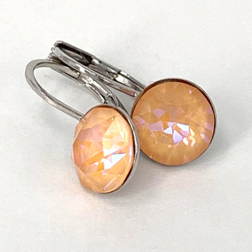 Peach delite coloured silver swarovski crystal loops, Isa Dambeck.