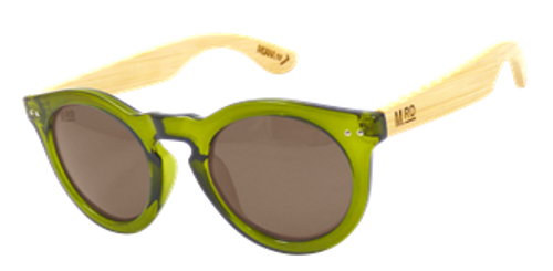 Green Grace Kelly sunglasses with bamboo arms, Moana Rd.