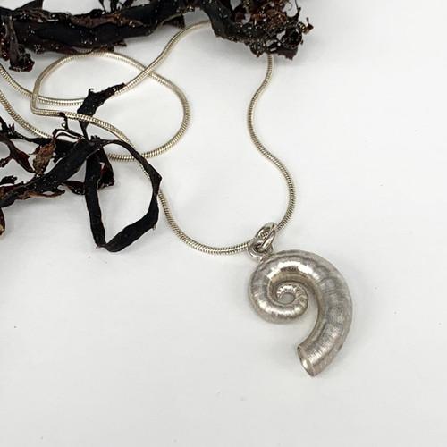 Sterling silver spirula shell pendant from Bob Wyber.