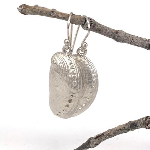 Sterling silver donkey ear abalone earrings, Bob Wyber.