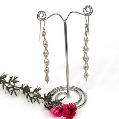 Sterling silver kowhai pod drop earrings, Bob Wyber.