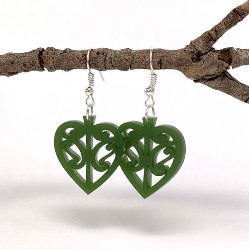 Kowhaiwhai heart resin earrings from SoNZ.