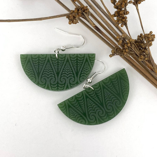 Kowhaiwhai semi circle resin earrings from SoNZ.