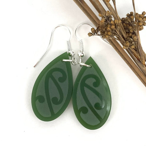Pitau engraved resign earrings from SoNZ.
