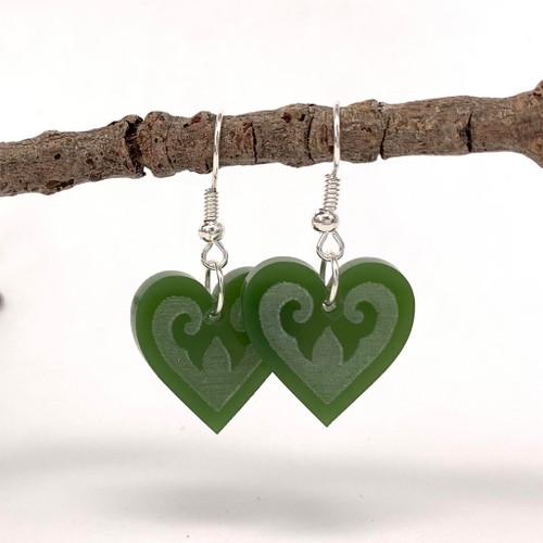 Aroha heart resin earrings from SoNZ.