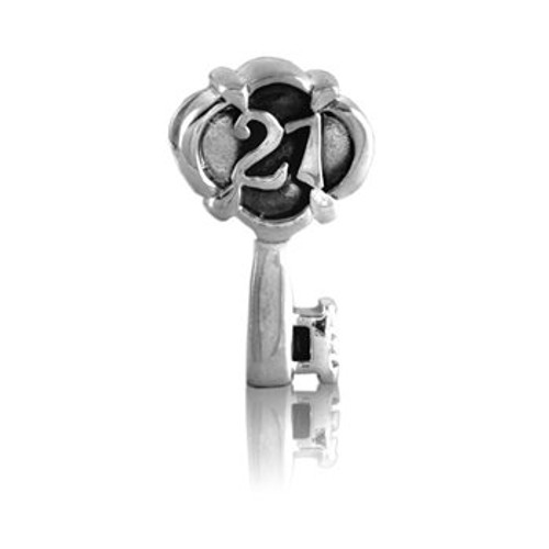 Sterling silver 21st key charm from Evolve New Zealand.