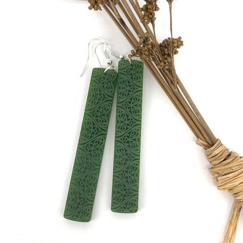 Resin whale tail earrings on sterling silver hooks, SoNZ.