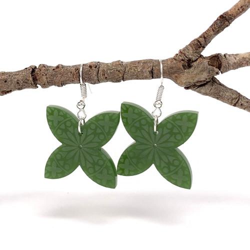 Frangipani Pacific star resin earrings.