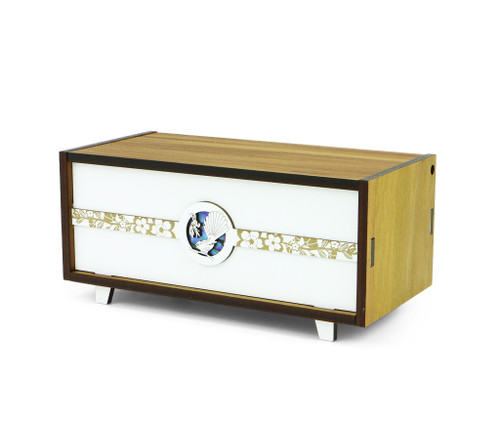 Pop jewellery box, paua inlay, fantail design, Ian Blackwell,