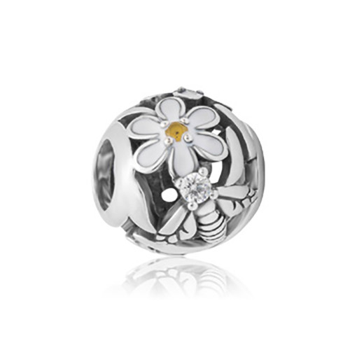 Daisy sterling silver, enamel and cubic zirconia charm from Evolve New Zealand.