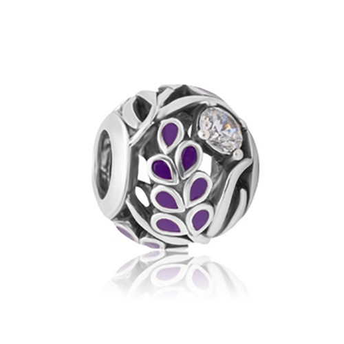 Lavendar sterling silver, enamel and cubic zirconia charm from Evolve New Zealand.
